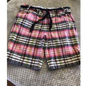 Lands End Pink Plaid Shorts Size 18